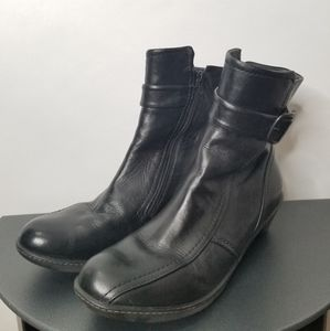 Dansko Buckle Zip Leather Black Boots Size 10